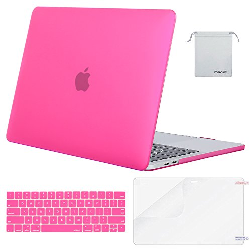 MOSISO MacBook Pro 13 Case 2018 2017 2016 Release A1989/A1706/A1708, Plastic Hard Shell & Keyboard Cover & Screen Protector & Storage Bag Compatible Newest Mac Pro 13 Inch, Rose Red