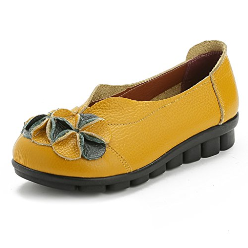 Boots Style Flower yellow Leather Women Casual Vogstyle New Handmade Ankle 3 Fn8WS0S
