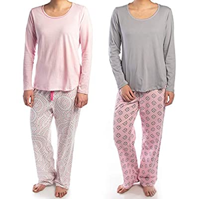 Jockey (2 Piece Soft Pajama Set for Women Cotton Long Sleeve Shirt Pants Ladies PJs for Teen Girls Sleepwear
