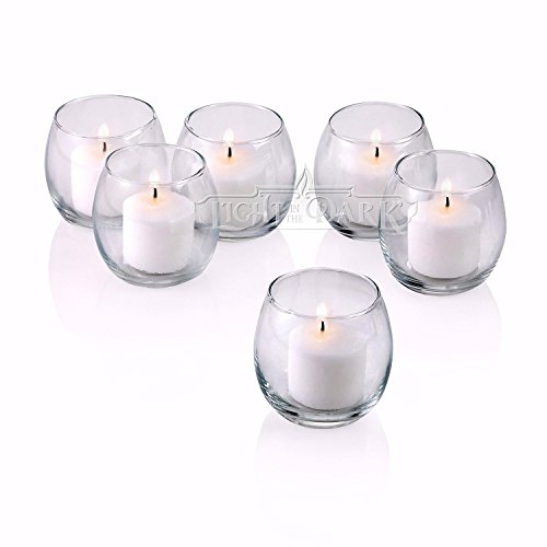 (Light In The Dark Clear Glass Hurricane Votive Candle Holders With White votive candles Burn 10 Hours Set of 72)