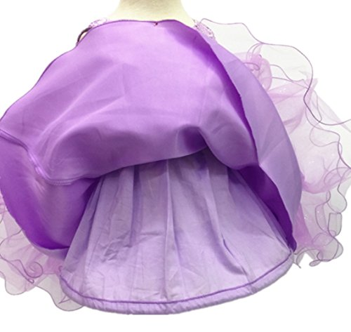 H.X Baby Girl's Lace Gauze Christening Baptism Wedding Dress with Petticoat (24M/Fit 18-24 months, Purple) by HX (Image #2)