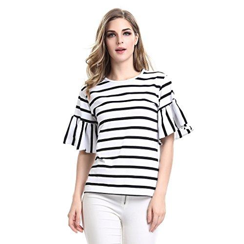 AOMEI Women Butterfly Sleeve Casual Stripe T Shirt White (Black Butterfly Tunic)