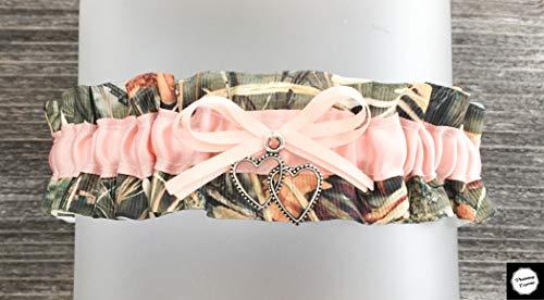 Camouflage Blush Satin Camo Prom Wedding Keepsake Camo Prom Bridal Garter - Double Heart Charm