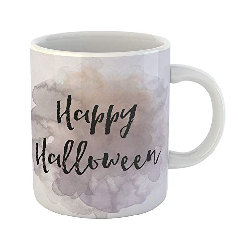 Emvency Coffee Tea Mug Gift 11 Ounces Funny Ceramic Saying Happy Halloween on Watercolor Abstract Aged Gifts For Family Friends Coworkers Boss Mug -