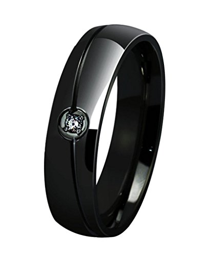 ANAZOZ Customize Stainless Steel Rings for Men Women Wedding Rings Cubic Zirconia Black 6MM Size 13