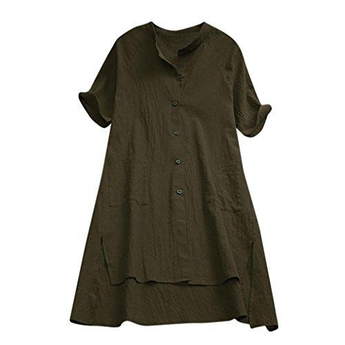 iDWZA Women Ladies Fashion Solid Asymmetrical Loose Tunic Bu