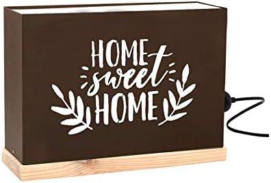 60W 60watios.com Caja Luminosa Letras/Cajas de Metal y Madera Natural, Cuadros de led para Regalos Originales Mujer, Decoracion, cumpleaños o Mensajes Personalizados (Home Sweet Home): Amazon.es: Hogar