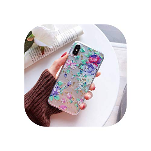 (Phone Cases for iPhone 7 Silicone Case for iPhone X XS Max XR 6 6S 8 7 Plus Case Cover Gold Foil Floral Flower Back Shell,5,for iPhone XR)