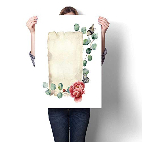 - Hanging Painting Watercolor Spring Card with Eucalyptus Peony Flower Butterfly and Ladybug Hand Painted Paper Texture with Insect and Floral Design Isolated on White Background Illustration for Desig