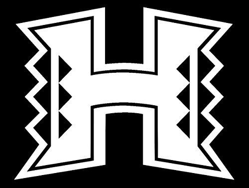Hawaii White Mug (ANGDEST University Hawai i artwork (WHITE) Waterproof Vinyl Decal Stickers Laptop Phone Helmet Car Window Bumper Mug Tuber Cup Door Wall Decoration)