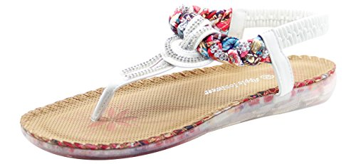 Casual Mule Sandals Diamante Ladies Post Toe Back Strap Soft White aAnY18nW