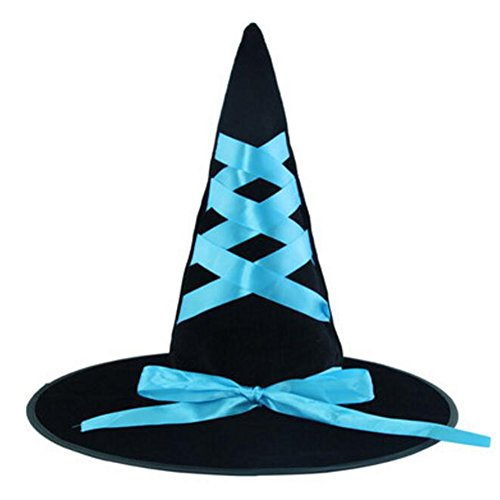 Goddness Bar Halloween Costume Party Dress Up Witch Hat Ribbon Ribbon Tip Cap Cosplay-A3 ()