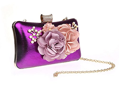 Bags Purple Women's Black Purse Purple Silver Flower For Red Coin Seasons All PU Polyester s Bow Fuchsia Sdrd6Tqw