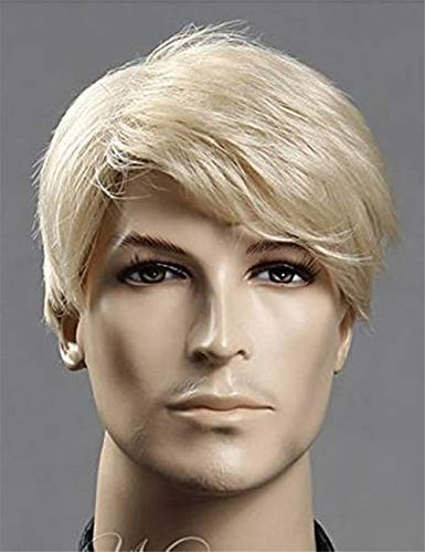 TopWigy Men Blonde Wigs Male Short Straight Heat Resistant Synthetic Hair Wig for Guy Natural Looking Cosplay Anime Party Hair 12 inches (Blonde 12'')]()
