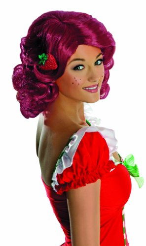 Secret Wishes Deluxe Adult Strawberry Shortcake Wig, Red, One (Strawberry Shortcake Costumes For Adults)