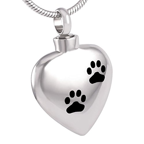 Double Dog//Cat Paw Print In My Heart Cremation Jewelry Keepsake Memorial Urn Necklace For Pet