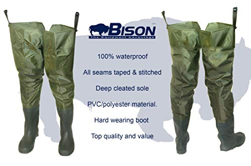 Bison PVC/NYLON THIGH HIP WADERS SIZE 7