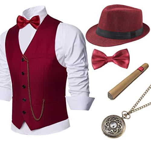 1920s Costume Party (BABEYOND 1920s Mens Gatsby Gangster Vest Costume Accessories Set Manhattan Fedora Hat Bowtie Plastic Cigar Vintage Pocket Watch (Wine Red,)