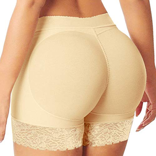 (Womens Seamless Butt Lifter Shorts Removable Padded Panties Hip Enhancer Fake Ass Push Up Buttock Beige)