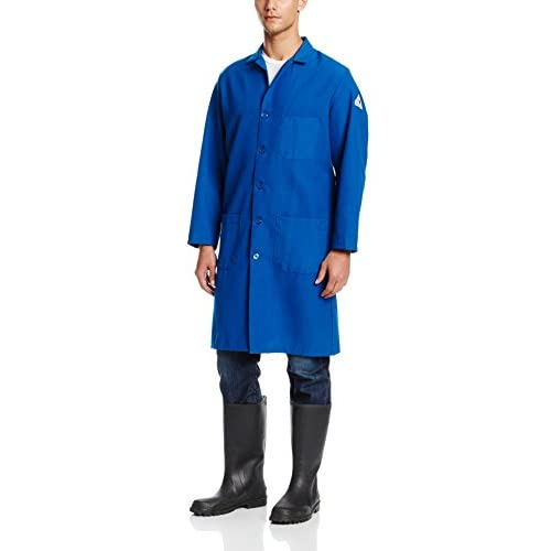 Bulwark Flame Resistant 6 oz Nomex IIIA Lapel Collar Lab Coat, Royal Blue, Large