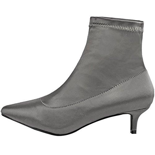 Mode Assoiffé Womens Low Kitten Talon Bottines Stretch Satin Bout Pointu Chaussures Taille Gris Foncé Satin