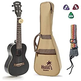Concert Ukulele Bundle, Deluxe Series by Hola! Music (Model HM-124BK+), Bundle Includes: 24 Inch Mahogany Ukulele with…