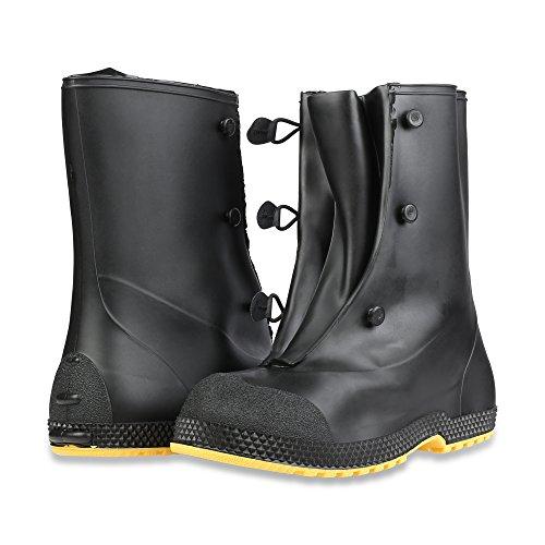 "Servus SuperFit 12"" PVC Dual-Compound Men's Overboots, Black & Yellow (11001-Bagged) - Image 6"