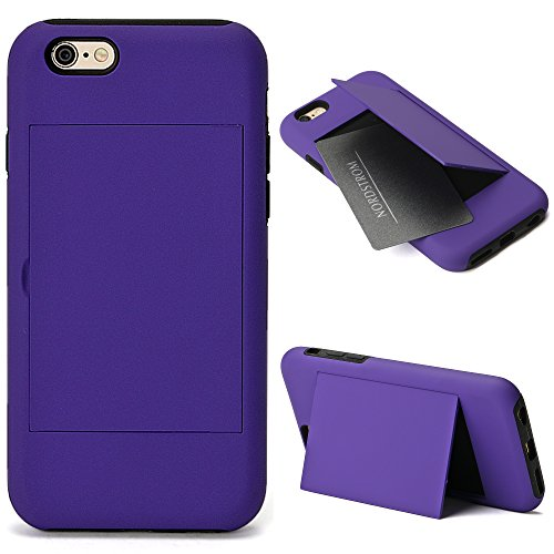 Iphone 6   6S Case  Single Card Id Holder Or Stand Iphone 6   6S 4 7  Tpu Hard Shock Absorbing Kickstand Wallet Series Case Cover For Apple Iphone 6   6S 4 7 Inch   Purple