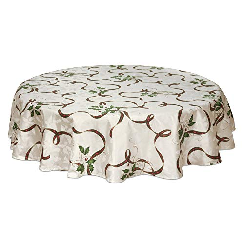 Lenox 7276084OVLMLT Holiday Nouveau Ribbon 60-by 84-Inch Oval Tablecloth, 60