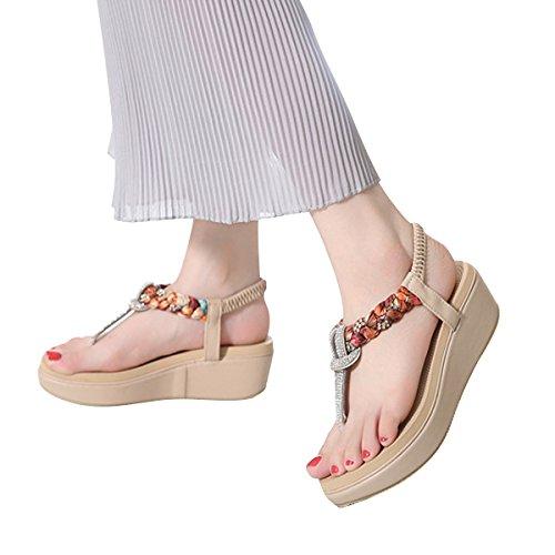 LUXINYU Women's Bohemian Platform Sandals Rhinestone Bead Wedge Shoes Thong Sandal Apricot US 7.5 by LUXINYU (Image #5)