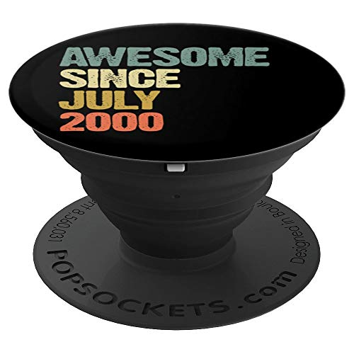 Awesome Since July 2000 19 Years Old 19th Birthday Gift PopSockets Grip and Stand for Phones and Tablets