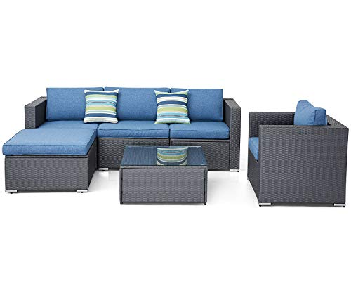 SUNCROWN Outdoor 6-Piece Patio Sofa and Chair Set All-Weather Furniture with Denim Blue Seat Cushions and Glass Coffee Table, Backyard, Pool, Waterproof Cover