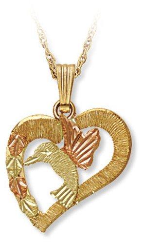 Landstroms 10k Black Hills Gold Hummingbird Heart Pendant Necklace, 18