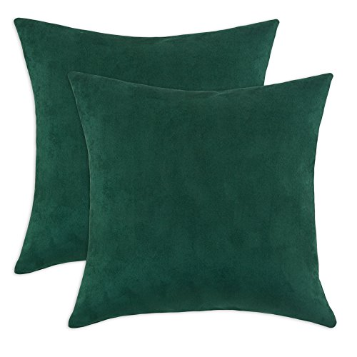 Chooty & Company Passion Suede S-Backed KD Fiber Pillow, 17 by 17-Inch, Dark Green, Set of 2