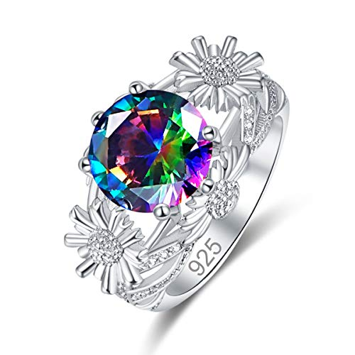 Humasol 925 Sterling Silver Filled Cubic Zirconia Rainbow Topaz Promise Proposal Engagement Sun Flower Rings for Women Girl Size 11