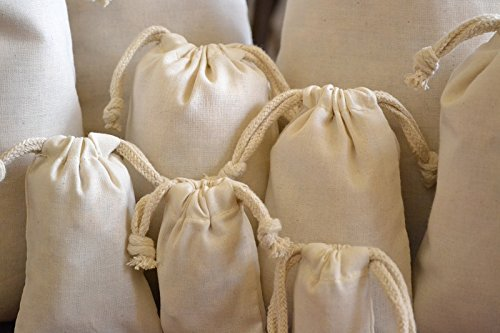 COTTON DOUBLE DRAWSTRING MUSLIN BAGS 4'X6' (natural color)-100 count pack