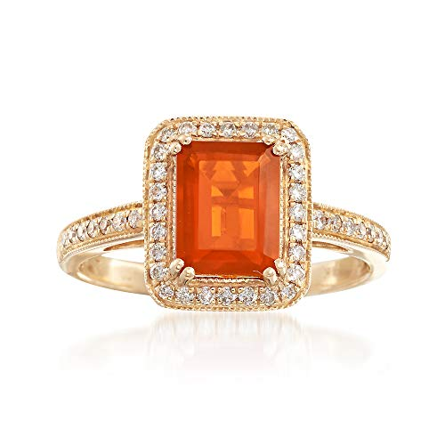(Ross-Simons Fire Opal and .21 ct. t.w. Diamond Ring in 14kt Yellow Gold)