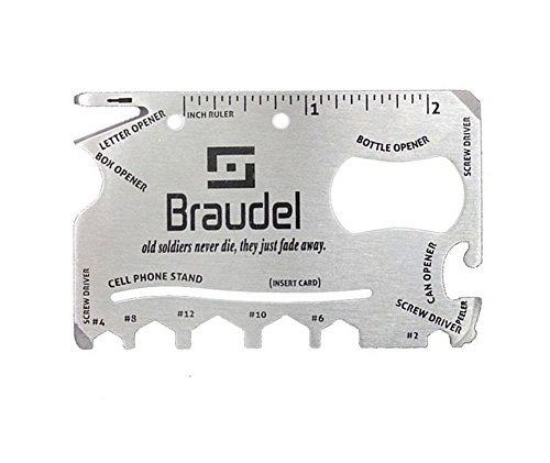 Braudel Pocket Size Multitool Tool,Soldiers Commemorative Section,18-in-1 Multi-purpose,Stainless Steel,Card Wallet Tool/ Survival Pocket Multitool,Gift for Mans (20