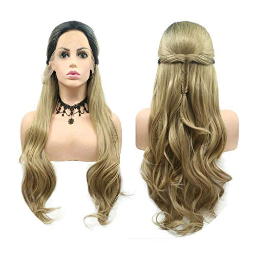 (Perfect-Starry Natural Hairline Blonde Wig Ombre Dark Roots Synthetic Lace Front Fishtail Braided Wigs For Women Cosplay Party Body Wave,28inches)