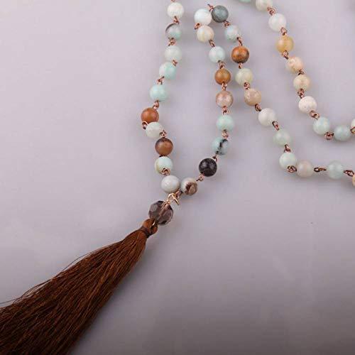 GAJSDJHN Jewelry Necklace Blue Green Stones Rosary Chain Knotted Long Tassel Necklace Handmade Women Jewelry
