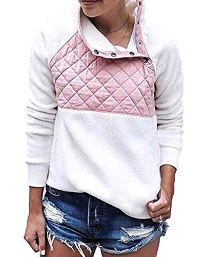 Da Patchwork Felpa color Manica Bottoni Donna Size Lunga Con A Omasuwi Pink In Taschino Xl White Laterale qvw7dISIx