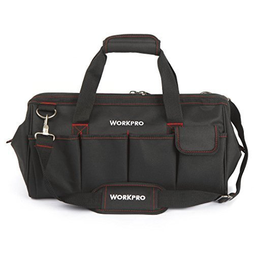 Workpro 18-inch Close Top Wide Mouth Storage Tool Bag - Wide Mouth Tool Organizer