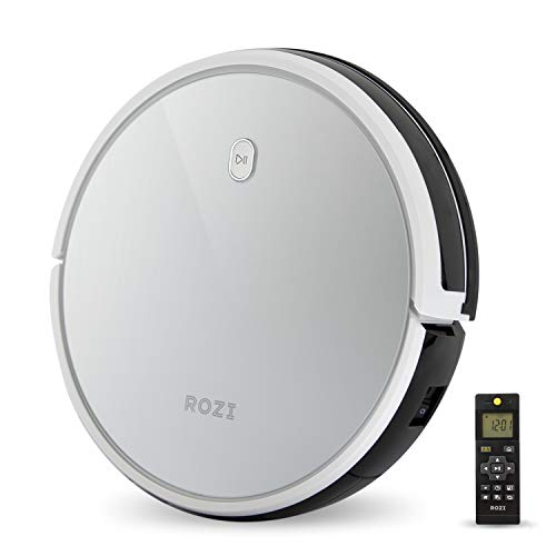 Rozi Robotic Vacuum Cleaner Super Quiet 1600Pa Strong Suction Quick Auto Charging for Hard Floors & Medium-Pile Carpets (Silver)