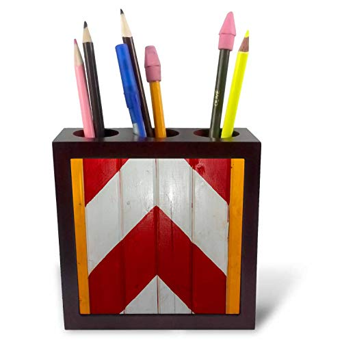 3dRose Alexis Photography - Texture Wood - Image of Wooden Planks Painted in red and White Chevron Pattern - 5 inch Tile Pen Holder (ph_304816_1) ()