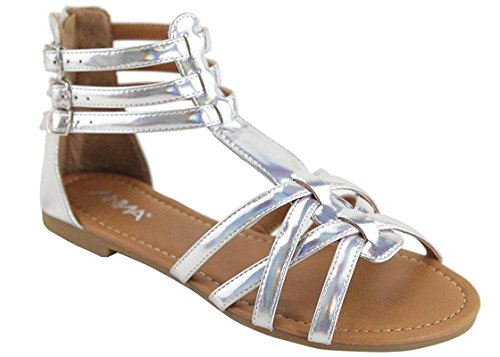 (ANNA Mavis-7 Women Buckle Zip Ankle Cuff Flat Gladiator Sandal Run Half Size Big (8.5 B(M) US, Silver)