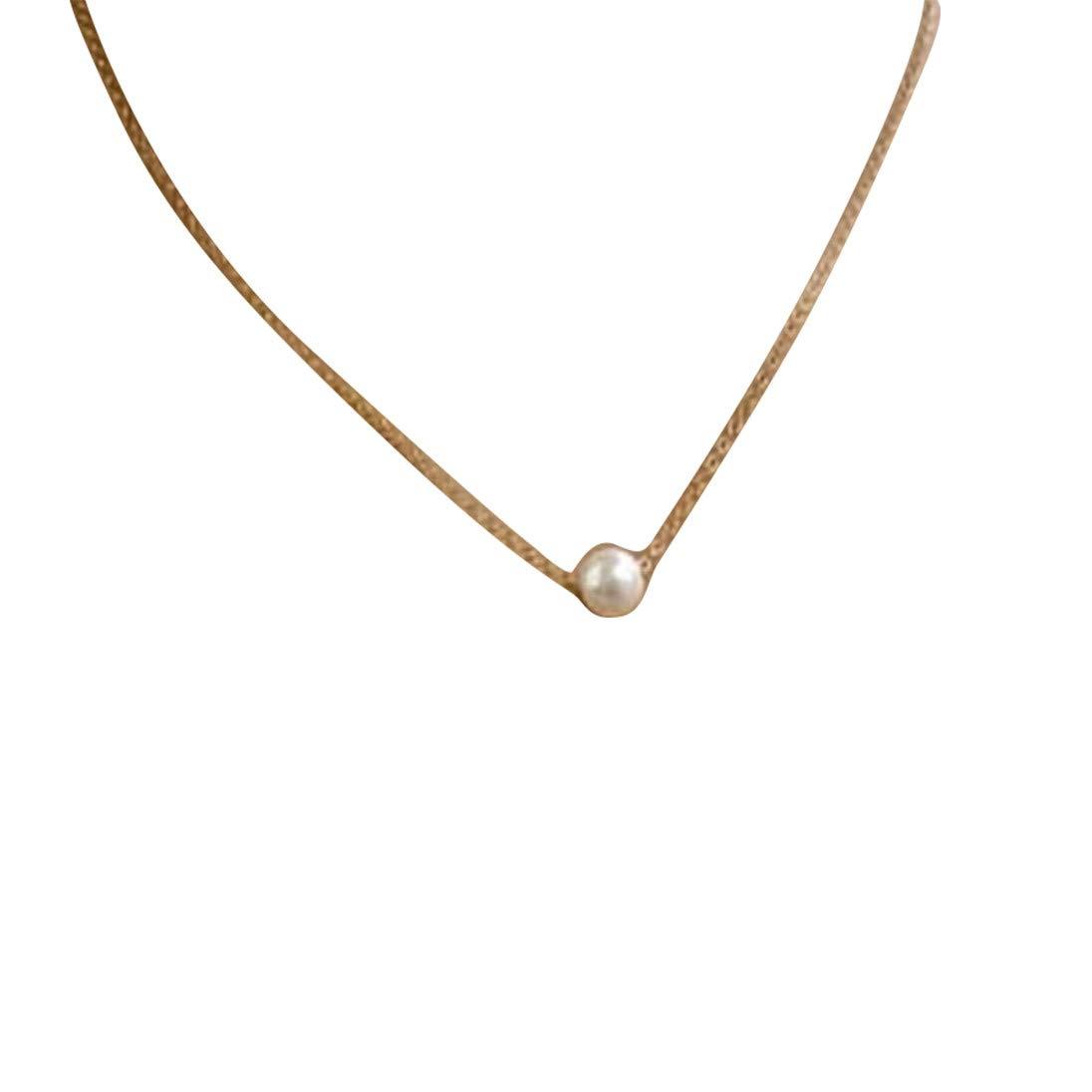 Start Women Fashion New Simple Pearl Bib Choker Necklace (Gold)