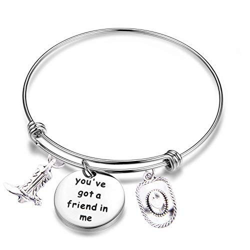(PLITI Toy Story Inspired Friendship Bangle You've Got A Friend in Me Bracelet Cowboy Hat and Boot Stainless Steel Jewelry (Got Friend in Me Bracelet))