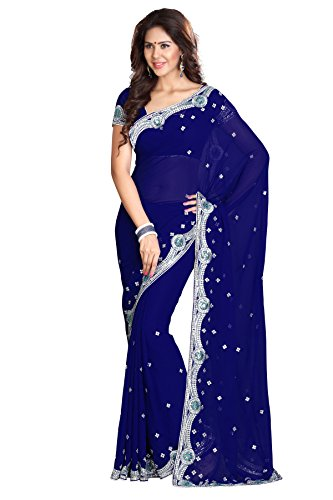 Women's Designer Bollywood Indian Saree Navy Blue Mirchi Fashion Partywear Dress by Sourbh