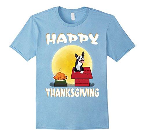 Infant Boston Terrier Costume (Mens Boston Terrier Dog Costume Happy Thanksgiving Day T-Shirt Medium Baby Blue)
