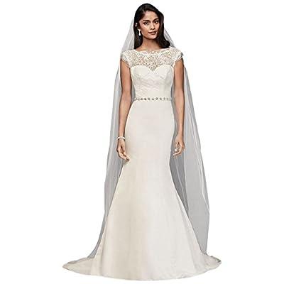 David's Bridal Petite Illusion Lace and Satin Wedding Dress Style 7WG3855